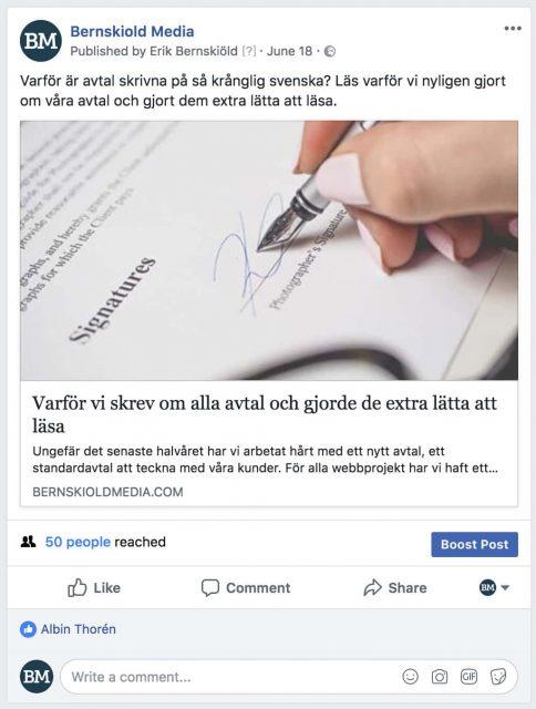 Länk-post på Facebook som ska taggas med UTM-taggar