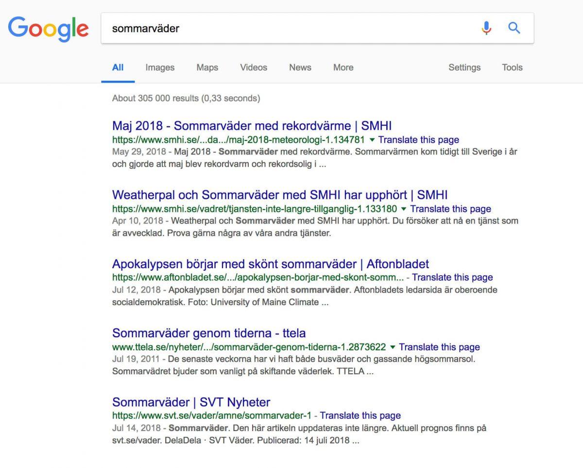 """Sökresultat i Google på termen """"sommarväder"""""""