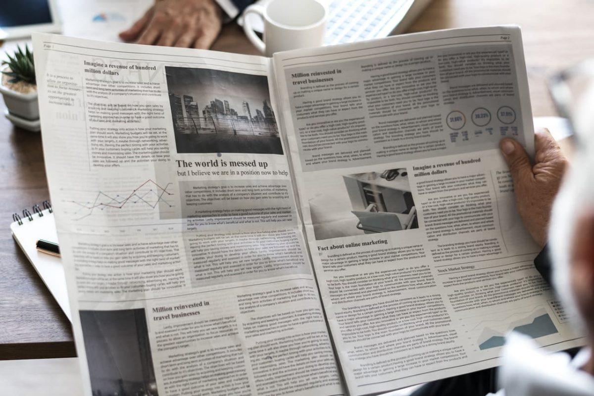 En textvägg i en vanlig tidning
